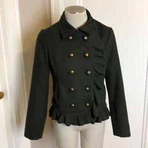Hunter Green wool Pea coat jacket ruffle size M